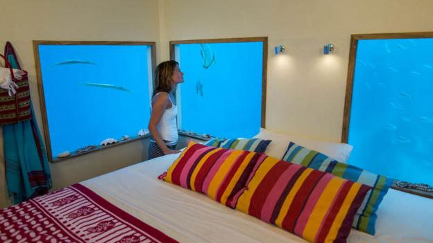 The room immerses guests 4m below the surface (Credit: Photographer Anhede)