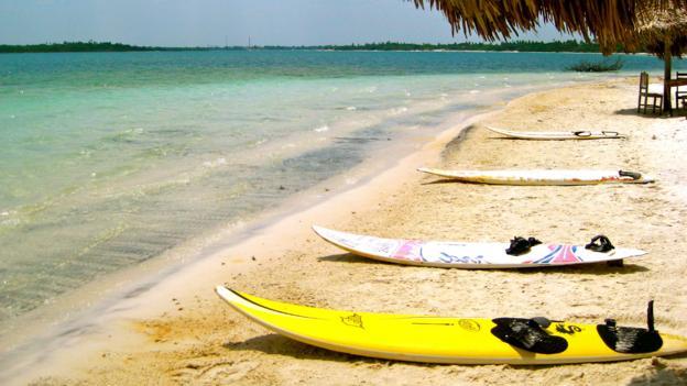 Communal boards at the Lagoa Paradiso (Credit: Kiran Herbert)