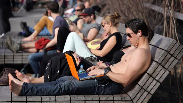Getting some work done on the High Line (Credit: John Moore/Getty)