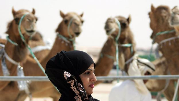 The Mazayin Dhafra Camel Festival outside Abu Dhabi (Credit: Karim Sahib/AFP/Getty)