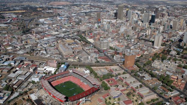The city skyline rises beyond Ellis Park Stadium (Credit: David Rogers/Getty)