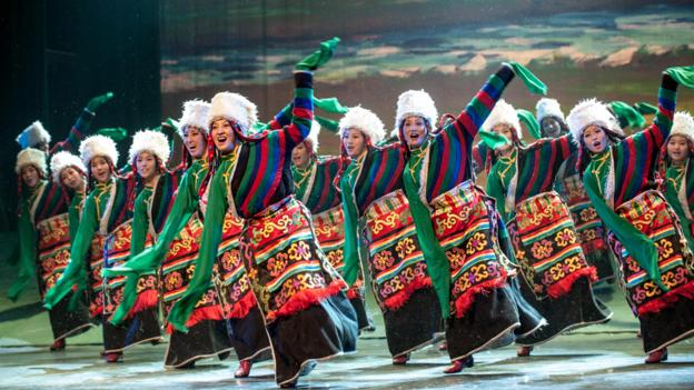 Tibetan dancers at the 2012 Ethnic Minorities Arts Festival in Beijing (Corbis)
