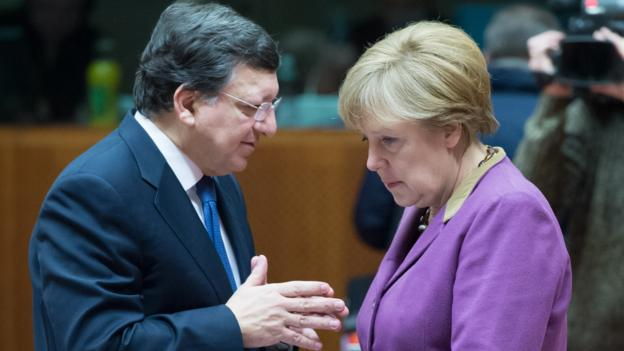 EC President Jose Manuel Barroso and German Chancellor Angela Merkel (AFP/Getty)