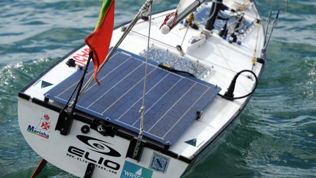 Sailboat equipped with a solar panel (Fred Tanneau/AFP/Getty Images)