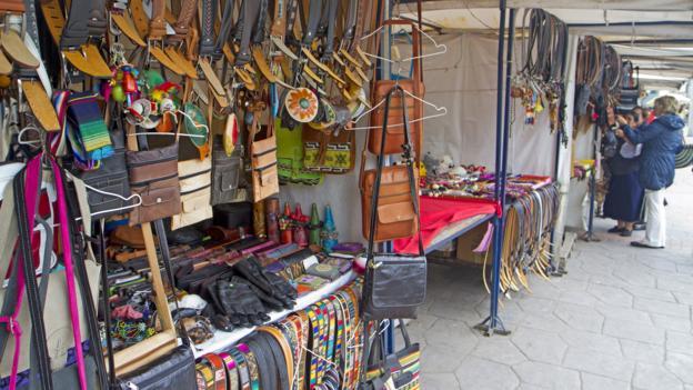 Leather goods in Cotacachi (Credit: Andrew Bain)