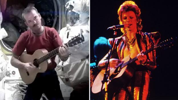 Commander Chris Hadfield and David Bowie in the 1970s (Pictorial Press/Alamy)