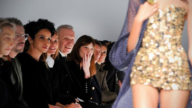 Front row at Schiaparelli at Paris Fashion Week Haute Couture Spring/Summer 2014.