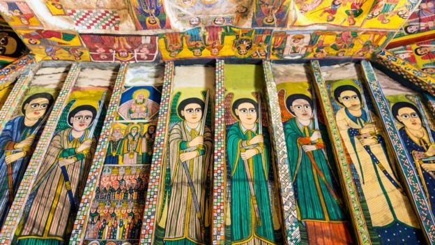 Perfectly preserved ceiling paintings in Tigray's Af Arabtu Ensessa Church (Credit: Tim Bewer/Getty)