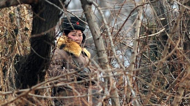Patrolling North Korea from the riverbanks (Credit: Frederic J Brown/AFP/Getty)