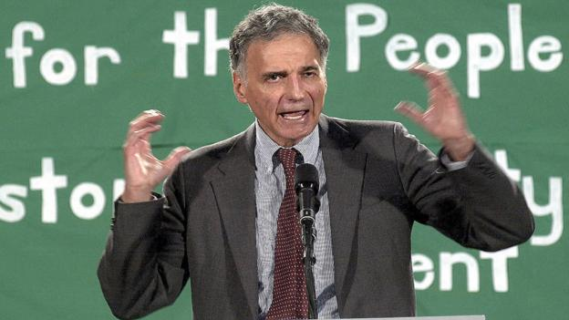 Green Party presidential candidate Ralph Nader at Boston University (Getty)