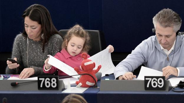 European Parliament member Licia Ronzulli takes her daughter to work. (AFP/Getty Images)