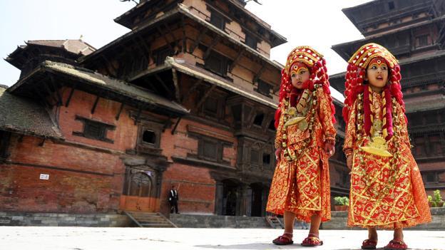 Dressed for Kathmandu's Kumari Puja rituals (Credit: Prakash Mathema/AFP/Getty)