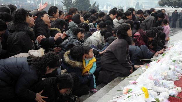 Mourning the late leader (Credit: KCNA/AFP/Getty)