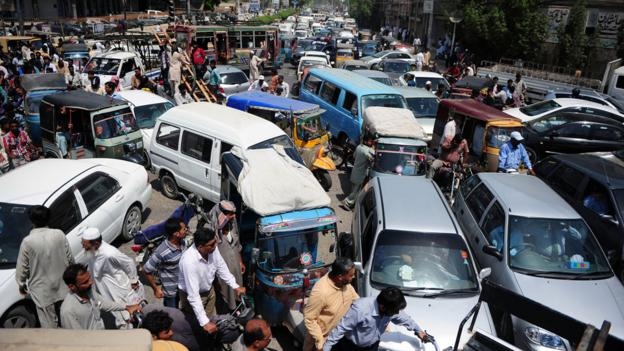 Pakistani commuters are stuck in a traffic jam. (AFP/Getty Images)