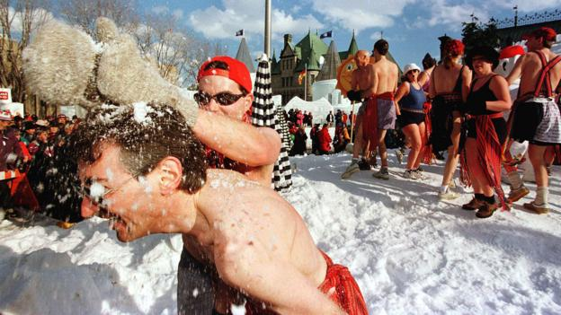 Fun in the cold at the Quebec Winter Carnival (Credit: Marcos Townsend/AFP/Getty)