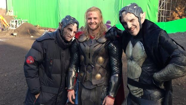 Hanton on set, standing in for Chris Hemsworth as Thor. (Splash News)