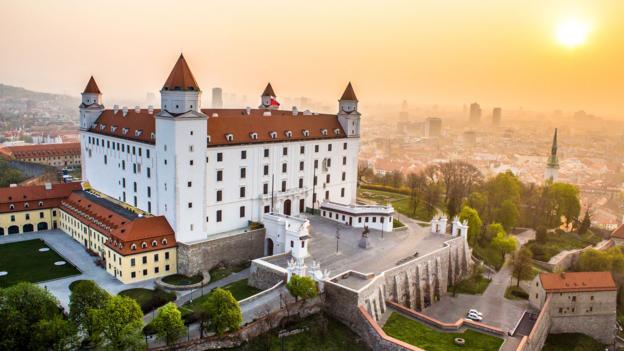 The sun rises on a castle in Bratislava (Credit: Bratislava Tourism Board/Duo Media)