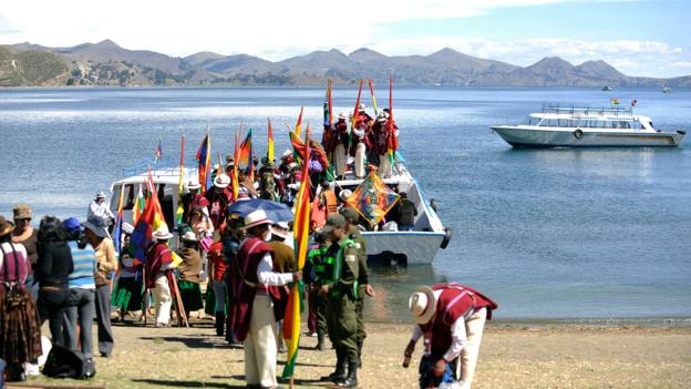 Aymara natives prepare for the summer solstice celebrations on Isla del Sol (Credit: Jorge Bernal/AFP/Getty)