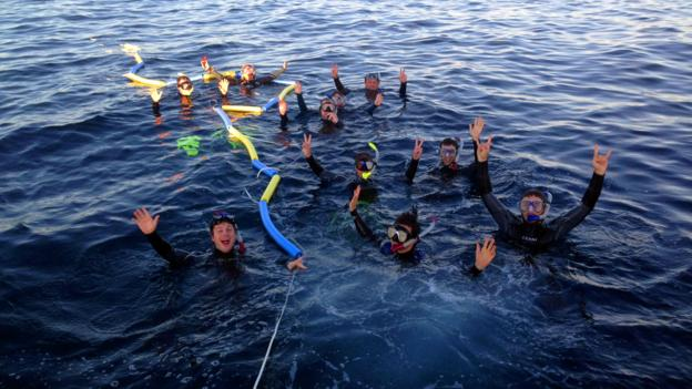 First swimmers in the water (Credit: Sunreef)