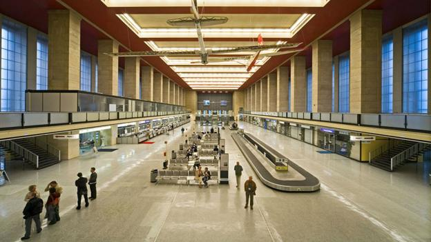 The imposing baggage hall of Berlin's Tempelhof Airport