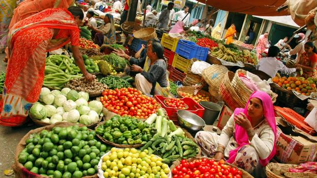Fresh market in Udaipur, India (Credit: Audrey Scott)