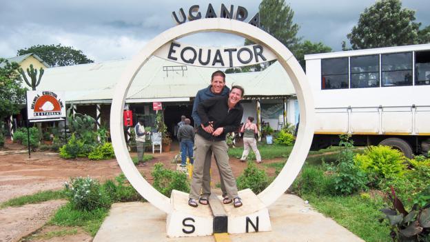 Straddling the equator in Uganda