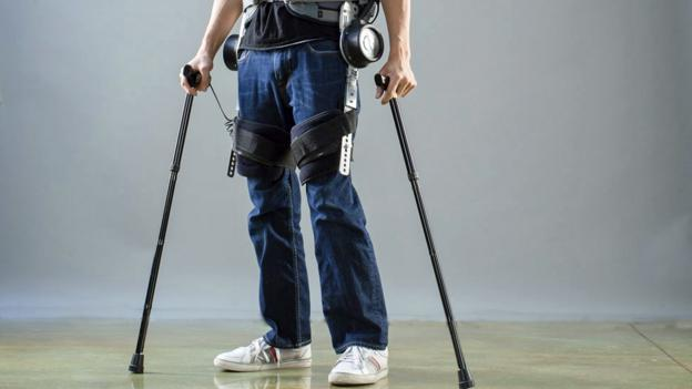 Daniel Fukuchi wearing an exoskeleton