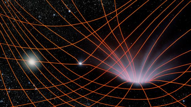 Bbc earth the strange fate of a person falling into a for Space time fabric black hole