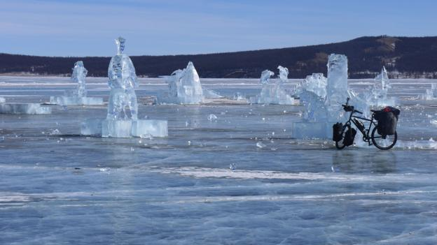 Remaining sculptures from the annual Ice Festival (Credit: Credit: Stephen Fabes)