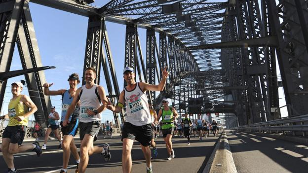 Sydney's Running Festival on the Harbour Bridge (Credit: Credit: Greg Wood/Getty)
