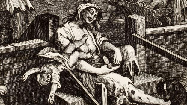 The central figure of Hogarth's Gin Lane is a crazed, half-naked prostitute