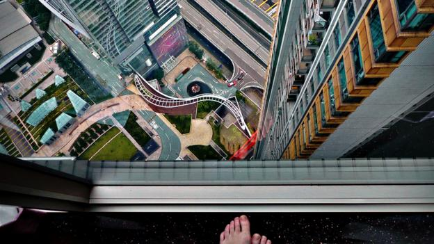 A vertigo-inducing view, found while couch-surfing in Hong Kong (Credit: Credit: Sabrina Iovino)