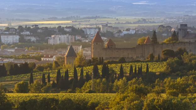 Carcassonne, France, seen over vineyards (Credit: Credit: Ken Welsh/Getty)