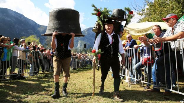 "Villagers have fun parading around at the ""Cow Ball"" (Credit: Credit: Mitja Sodja/Tourism Bohinj)"