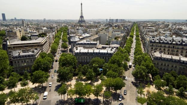 An aerial view of Paris (Credit: Credit: Image Source/Alamy)