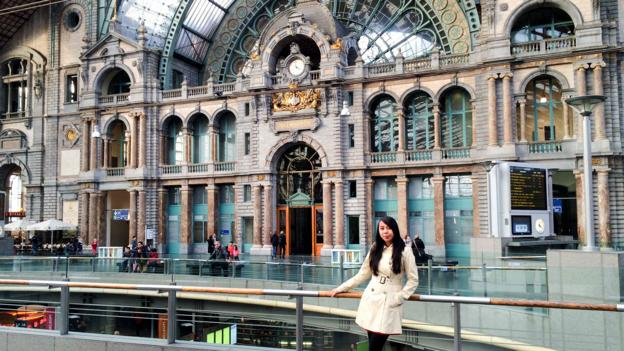 Standing in Antwerp's Central Station, one of Europe's most famous railway stations (Credit: Credit: Aileen Adalid)
