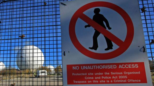 Warning signs outside RAF Menwith Hill (Credit: Credit: Christopher Furlong/Getty)