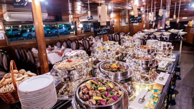 A buffet aboard the Al Mansour Dhow