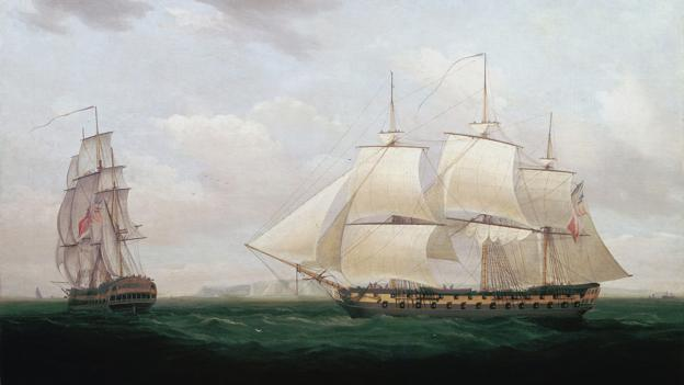 'Two East Indiamen off a Coast'