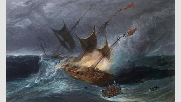 A fire destroyed the East India Company ship Kent in the Bay of Biscay