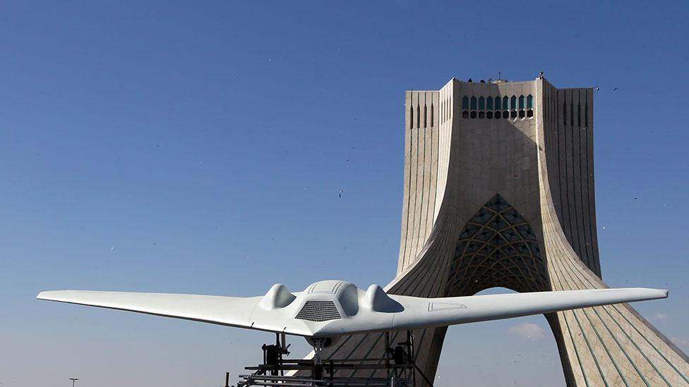 "A ""hacked"" RQ-170 drone in Iran (Atta Kenare/AFP/Getty)"