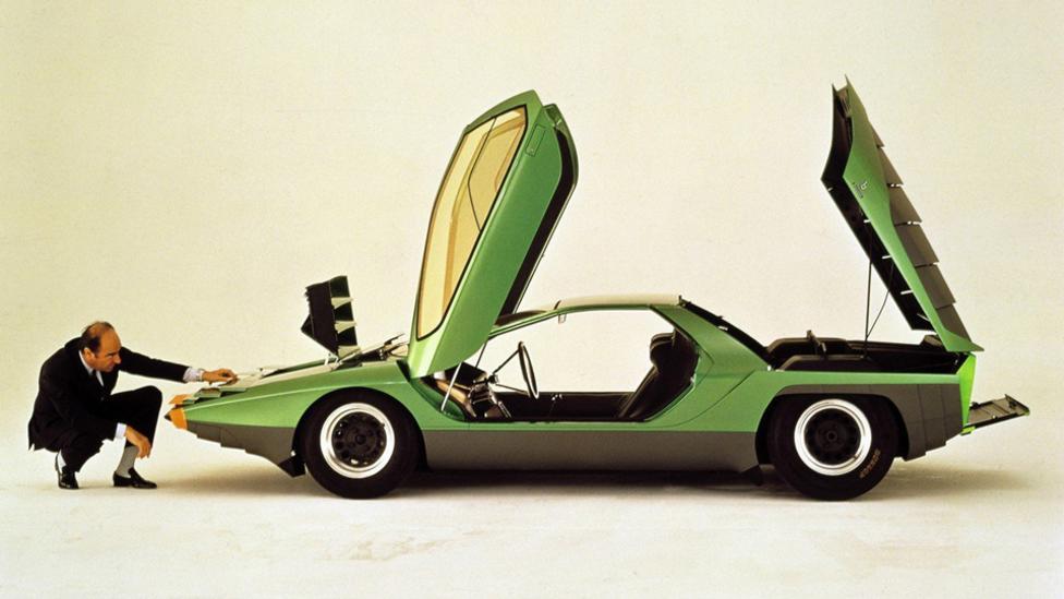 Designer Marcello Gandini with his Alfa Romeo Carabo Bertone concept, 1968. (Bertone)