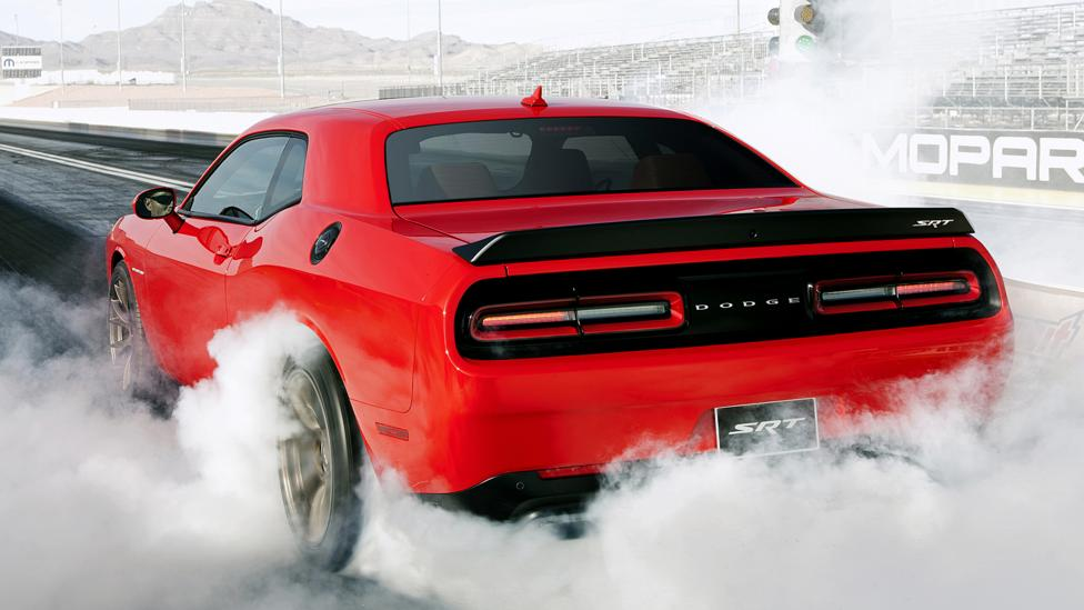 Heroic burnouts? Advantage = rear-wheel drive. (Chrysler Group)