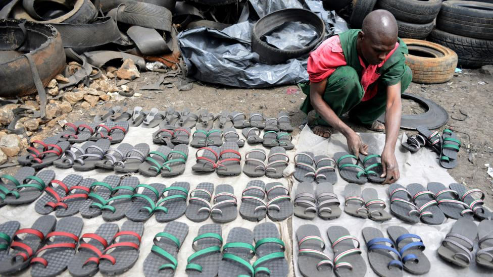 In Kenya, recycled tires become tough, inexpensive sandals called akalas