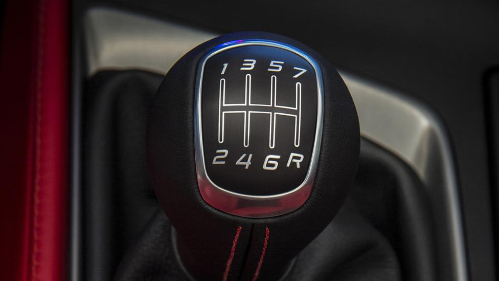 The seven-speed manual shift knob of the 2014 Chevrolet Corvette. (General Motors)