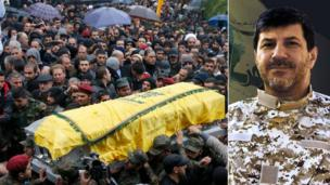 Crowds of mourners in Lebanon turn out to bury Hassan Lakkis, a commander in the Shia militant group Hezbollah, killed at close range on Tuesday.
