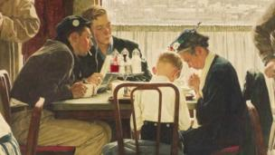 A Normal Rockwell painting sells for $46m (£28m) in New York, a new record for a piece of American art sold at auction.