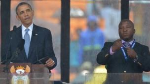 "The owners of the firm which supplied a ""fake"" sign language interpreter to the Mandela memorial event have vanished, a South African minister says."