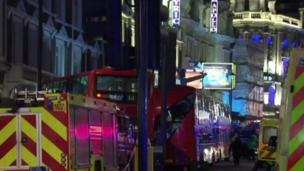 Some 80 people are injured - at least four seriously - after part of a roof in the Apollo Theatre in central London collapsed during a performance.