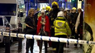Seventy-six people have been injured, seven seriously, after part of a ceiling in London's Apollo Theatre collapsed during a show, police say.